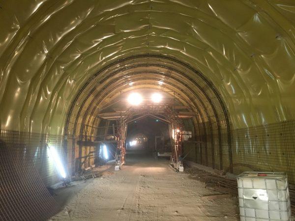 Tunnel Dürnstein Vorbereitungen für den Spritzbeton